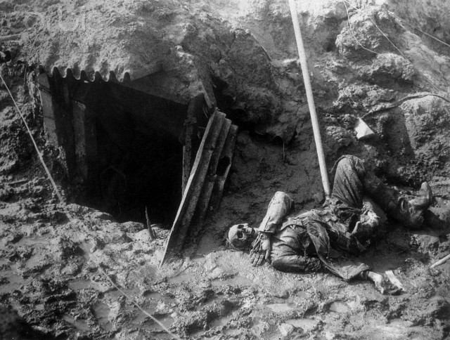 Skeleton in Trench During World War I